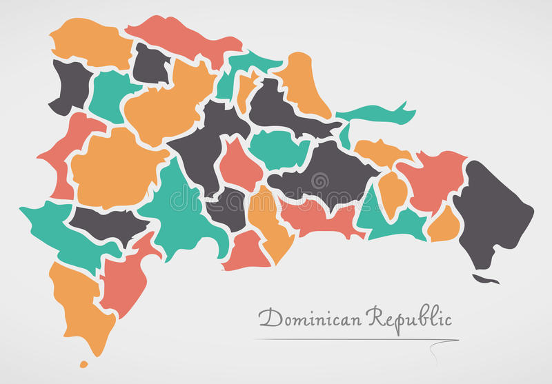 Dominican Republic Map with states and modern round shapes. Illustration vector illustration