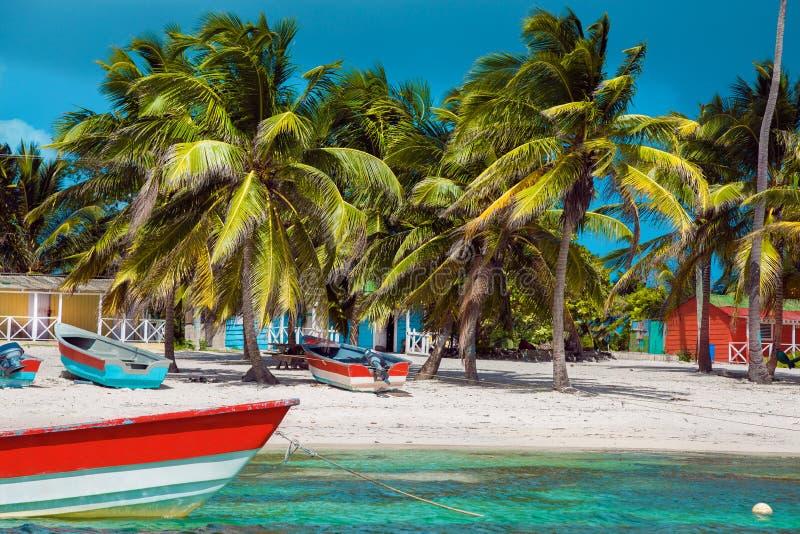 Dominican Republic, Punta cana, Saona Island - Mano Juan Beach. Fishermen`s village royalty free stock image