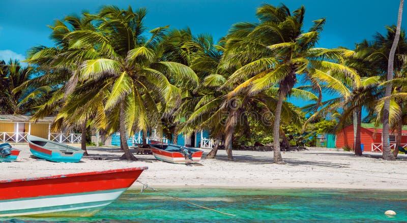 Dominican Republic, Punta cana, Saona Island - Mano Juan Beach. Fishermen`s village stock image