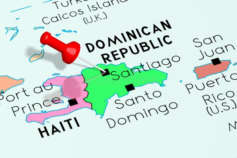 Dominican Republic, Santiago - capital city, pinned on political map royalty free illustration