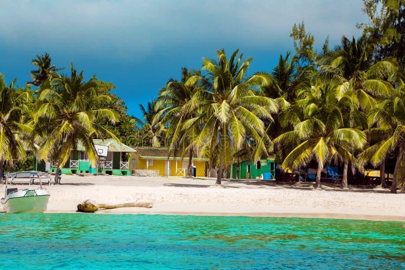 Dominican Republic, Punta cana, Saona Island - Mano Juan Beach. Fishermen`s village royalty free stock photo