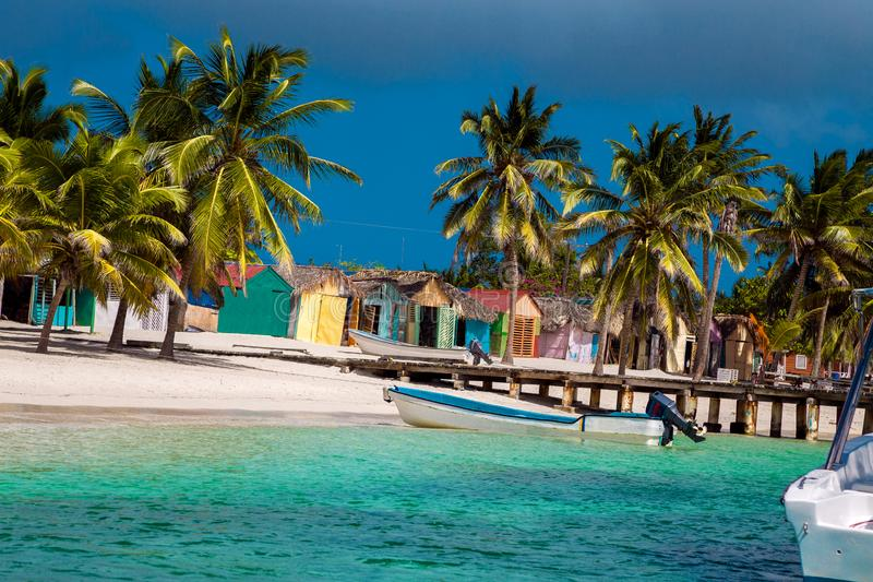 Dominican Republic, Punta cana, Saona Island - Mano Juan Beach. Fishermen`s village stock images