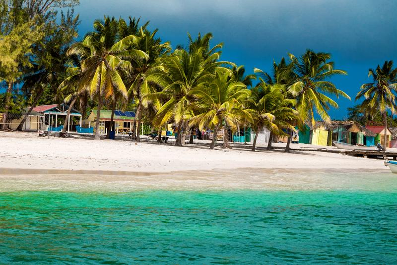 Dominican Republic, Punta cana, Saona Island - Mano Juan Beach. Fishermen`s village stock photo