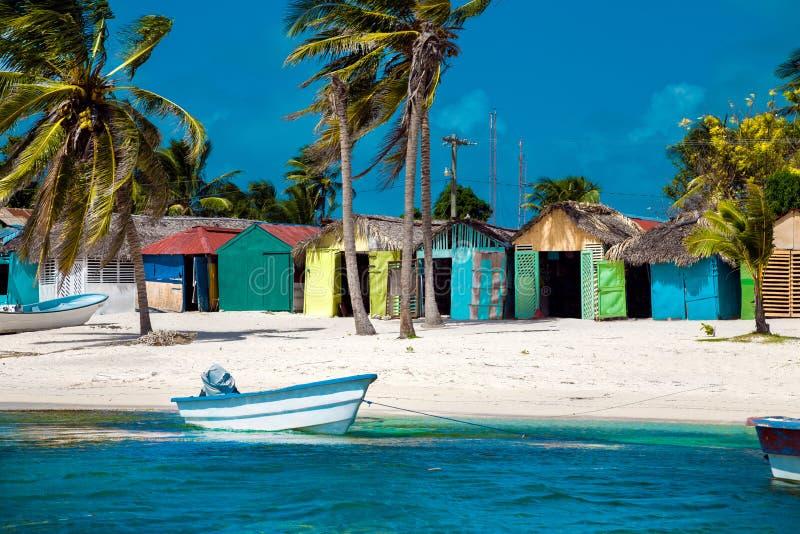 Dominican Republic, Punta cana, Saona Island - Mano Juan Beach. Fishermen`s village royalty free stock photos