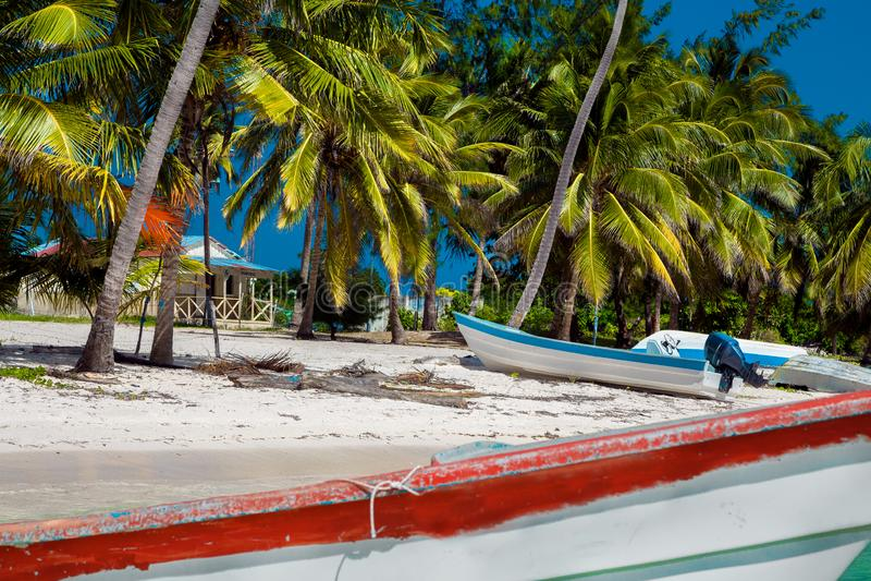 Dominican Republic, Punta cana, Saona Island - Mano Juan Beach. Fishermen`s village stock photography