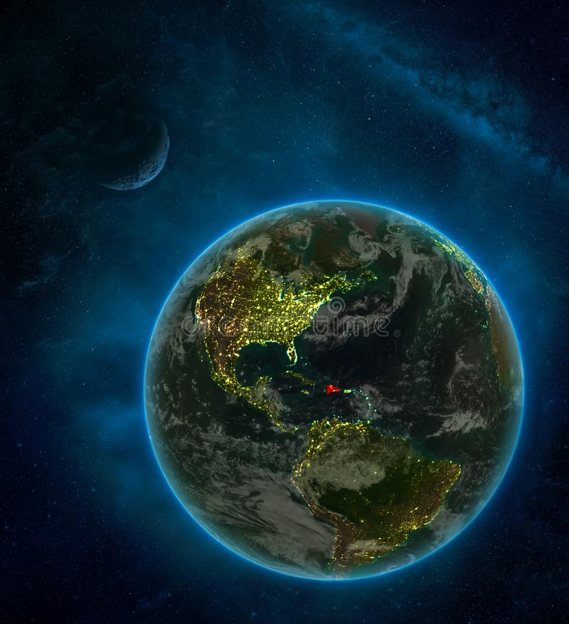 Dominican Republic from space on Earth at night surrounded by space with Moon and Milky Way. Detailed planet with city lights and. Clouds. 3D illustration royalty free illustration