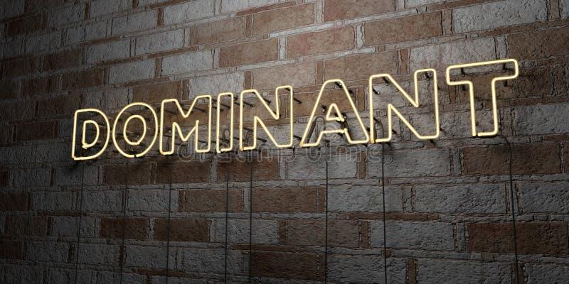 DOMINIEREND - Glühende Leuchtreklame auf Steinmetzarbeitwand - 3D übertrug freie Illustration der Abgabe auf Lager stock abbildung