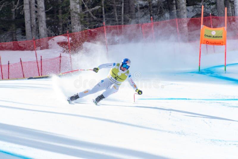 DOMINIK PARIS ITA tar delen i körningen för SKIDAR loppet för G MENÂS för VÄRLDSFINALER DET TOPPNA av FISEN alpina Ski World Cup  royaltyfri bild