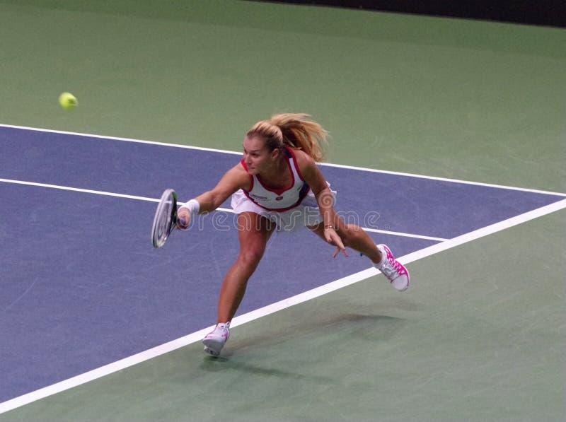 Dominika Cibulkova spelar ett backhand- i den Fed Cup matchen, Slovakien arkivfoto