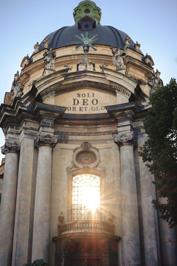 Dominikanische katholische Kirche in der alten Lemberg-Ukrainerstadt lizenzfreie stockfotografie