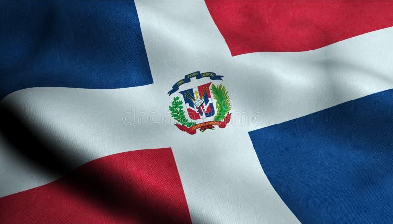 Dominikanische Republik-wellenartig bewegende Flagge in 3D stock abbildung