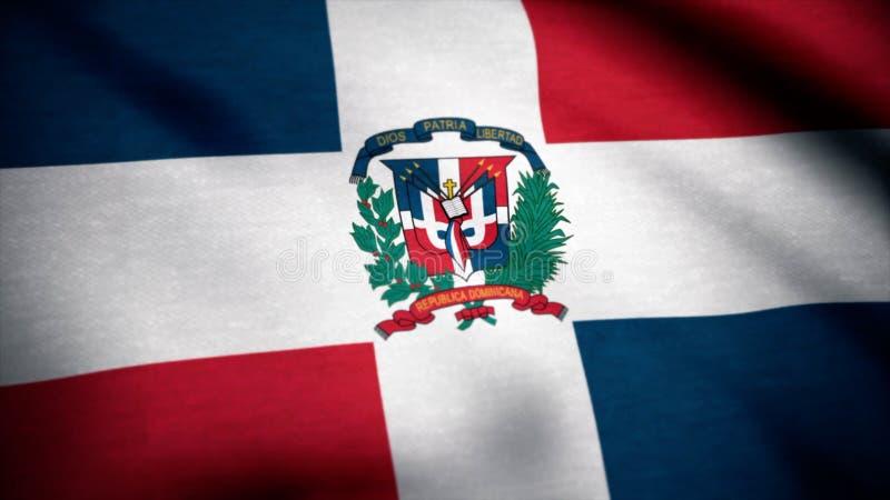 dominikansk flaggarepublik Flagga av Dominikanska republiken som vinkar på vind royaltyfri fotografi