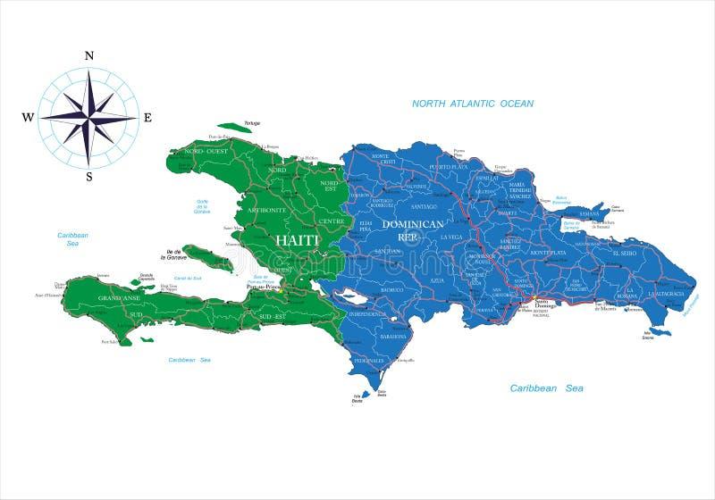 Dominikanska Republiken Och Haiti Oversikt Vektor Illustrationer