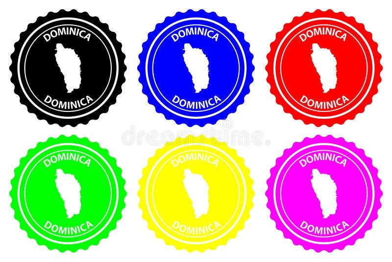 Dominikisk rubber stämpel stock illustrationer