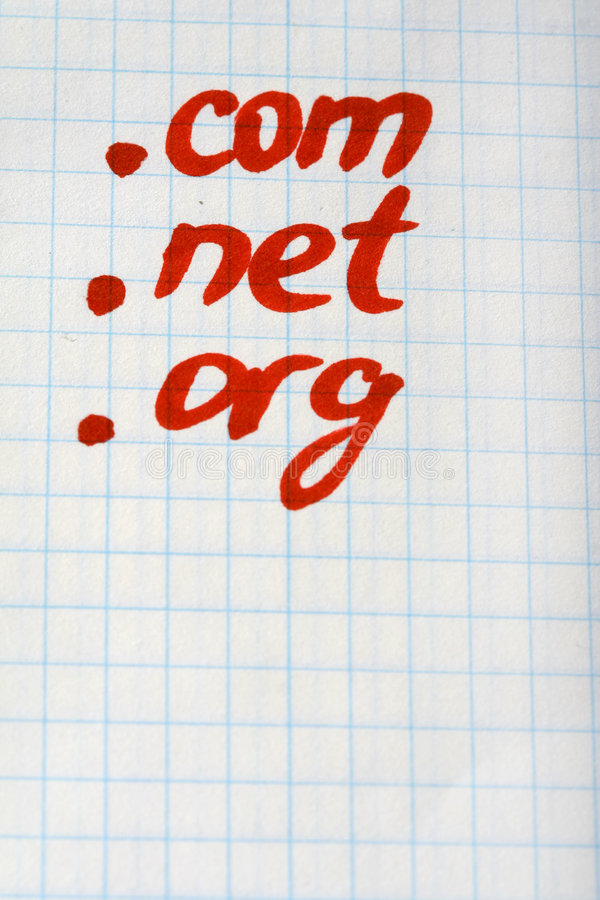 Dominio NETO de COM de punto ORG - concepto del Internet foto de archivo