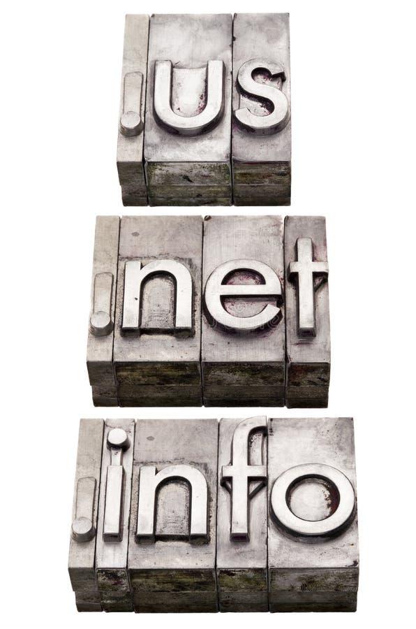 Dominios del Internet - nosotros, red, Info foto de archivo