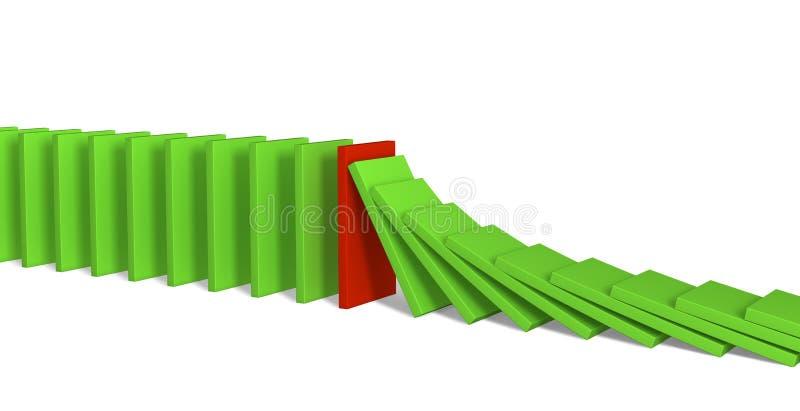 Domino形象绿化红色 库存例证