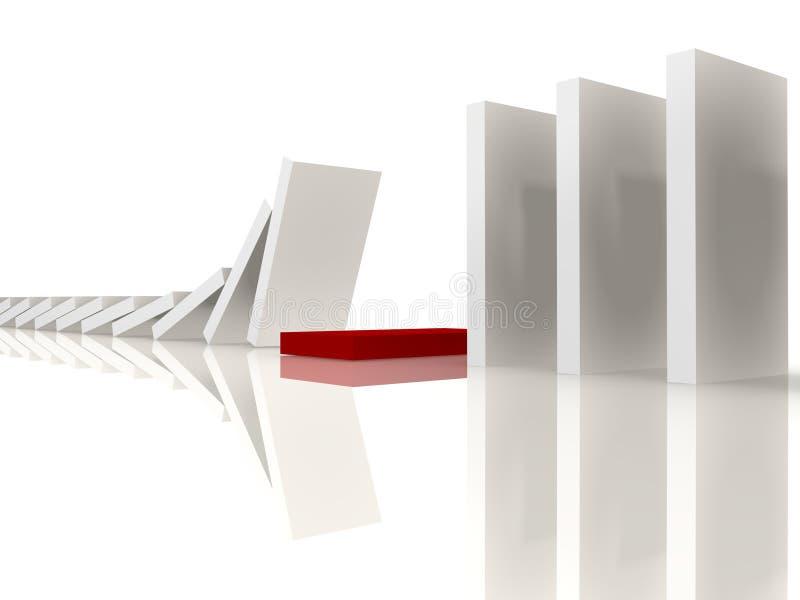 Domino bianchi che si arrestano al colore rosso - immagine 3d royalty illustrazione gratis