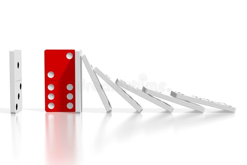 domino bianchi e rossi di 3D - concetto di resistenza illustrazione di stock