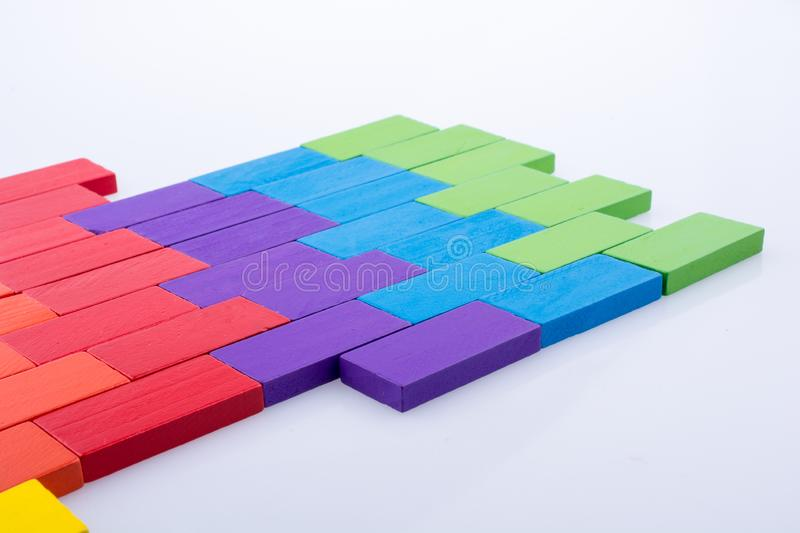 Domino Blocks of various color. Colorful Domino Blocks on a white background stock photo