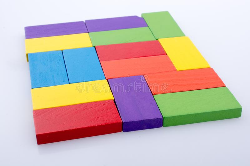 Domino Blocks of various color. Colorful Domino Blocks on a white background royalty free stock photos