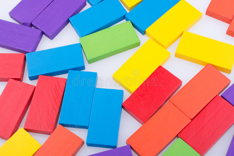 Domino Blocks of various color. Colorful Domino Blocks on a white background royalty free stock photography