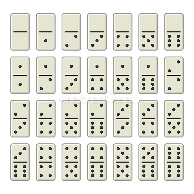 Domino Bones Complete Set on White Background. Vector stock illustration