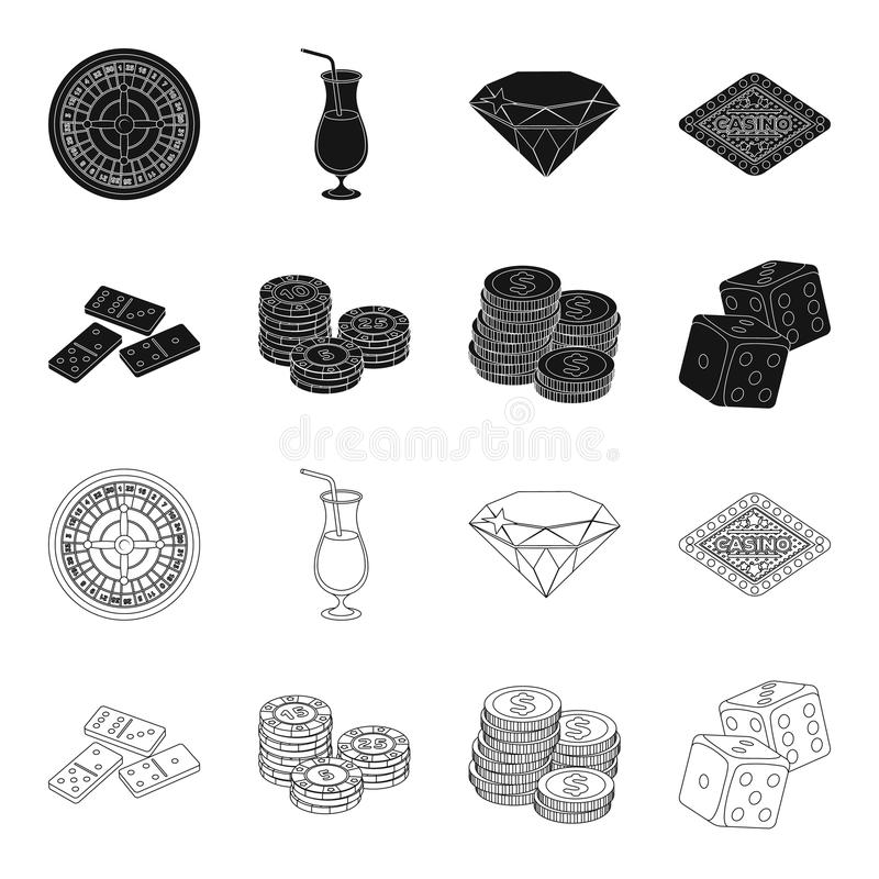 Domino bones, stack of chips, a pile of mont, playing blocks. Casino and gambling set collection icons in black,outline. Style vector symbol stock illustration royalty free illustration
