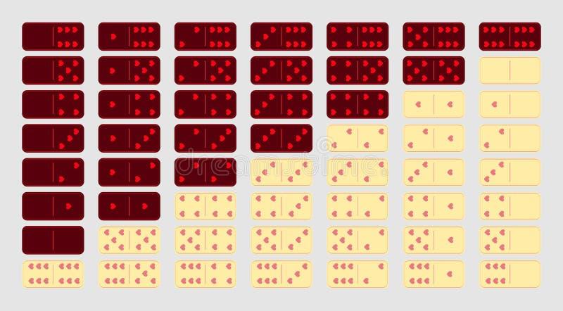 Domino Burgunder achtundzwanzig Stücke auf einem grauen Hintergrund vektor abbildung