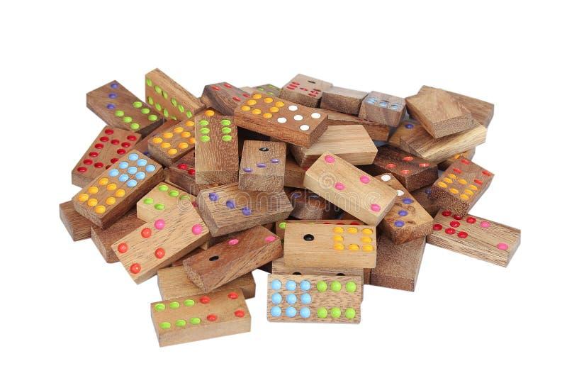 Domino di legno isolati su fondo bianco fotografie stock