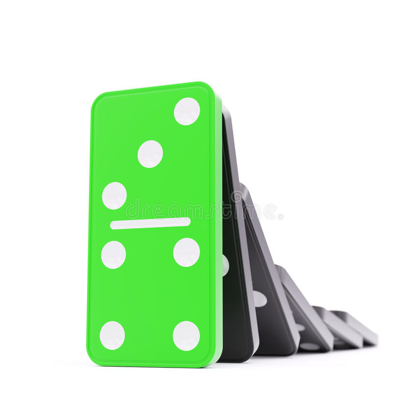 Domino effect barrier concept. On white background royalty free illustration