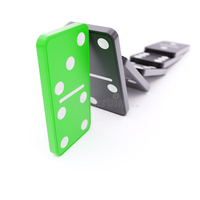 Domino effect barrier concept. On white background vector illustration