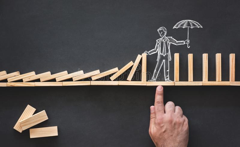 Domino Effect and Business Challenge Concept stock photos