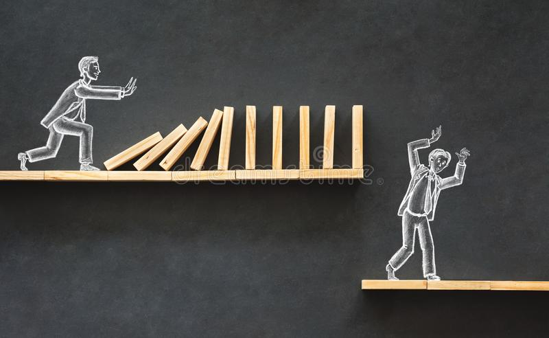 Domino Effect and Business Challenge Concept royalty free stock photos