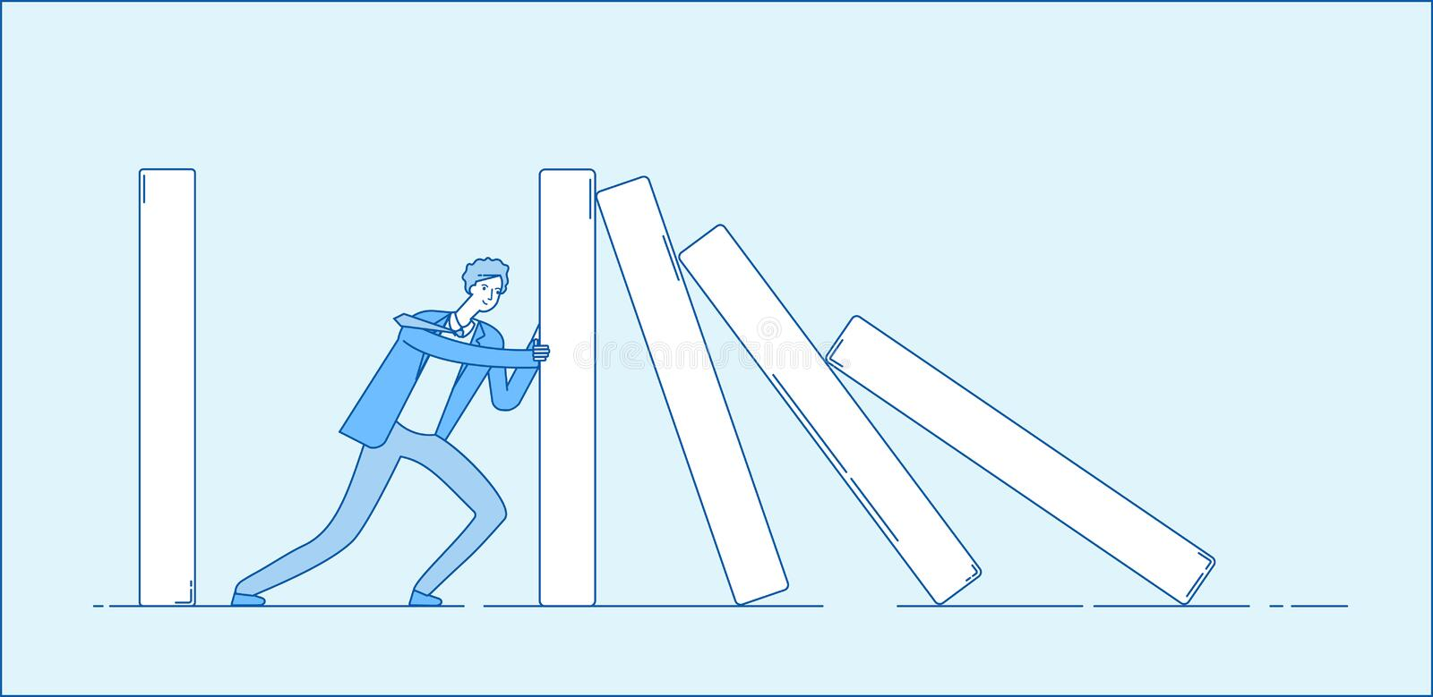 Domino effect. Businessman holding falling domino. Determination resistance pushing chain reaction hard work business. Vector concept. Businessman with domino stock illustration