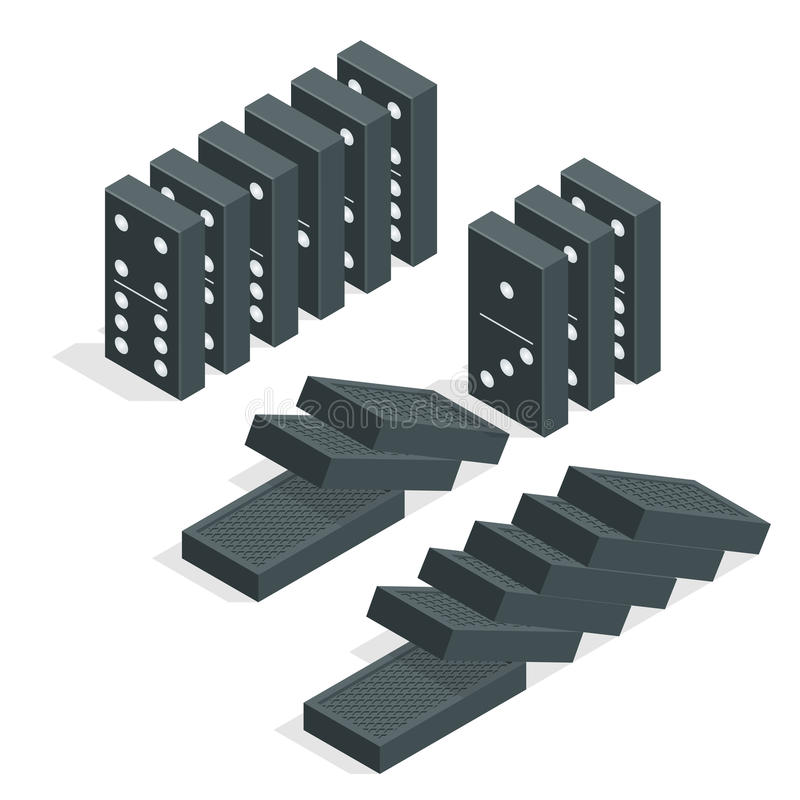 Domino effect. Full set of black isometric dominoes on white. Flat vector illustration royalty free illustration