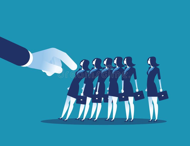 Domino Effect. Manager pushes employee standing in row. Concept business chain reaction vector illustration royalty free illustration