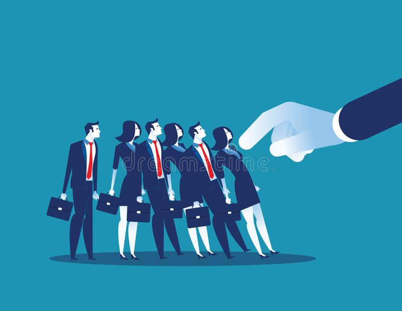 Domino Effect. Manager pushes employee standing in row. Concept business chain reaction vector illustration vector illustration