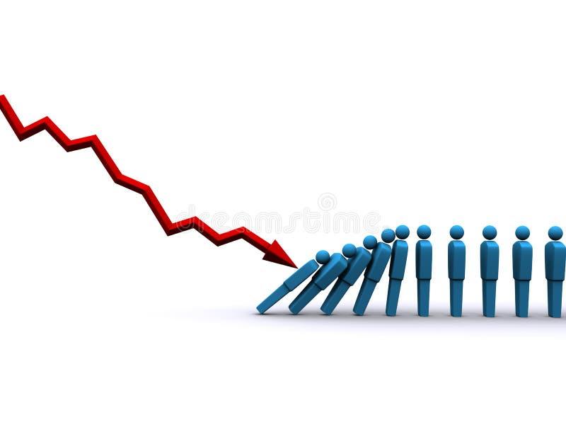 Domino-Effekt lizenzfreie abbildung