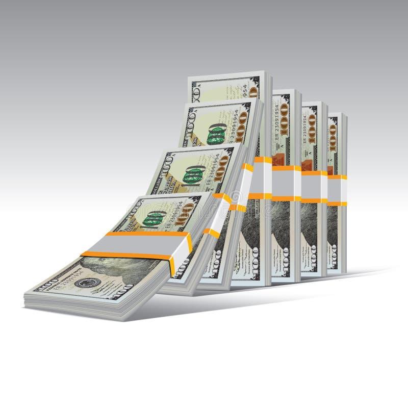 Domino-Effekt mit dollas lizenzfreie abbildung