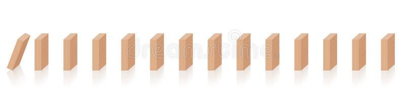 Domino-fallende Kettenreaktions-hölzerne Stücke lizenzfreie abbildung