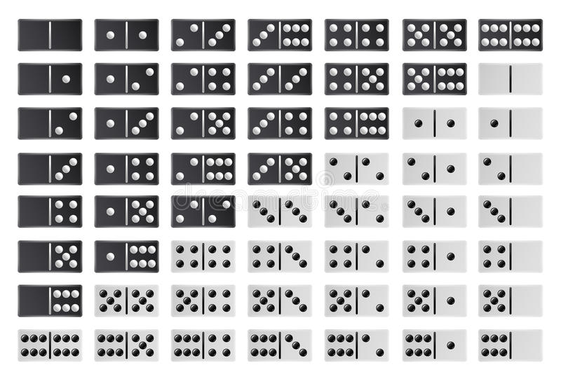 Domino Full Big Set Vector. Black And White Color. Realistic Dominoes Bones Collection On White. 28 Pieces For vector illustration