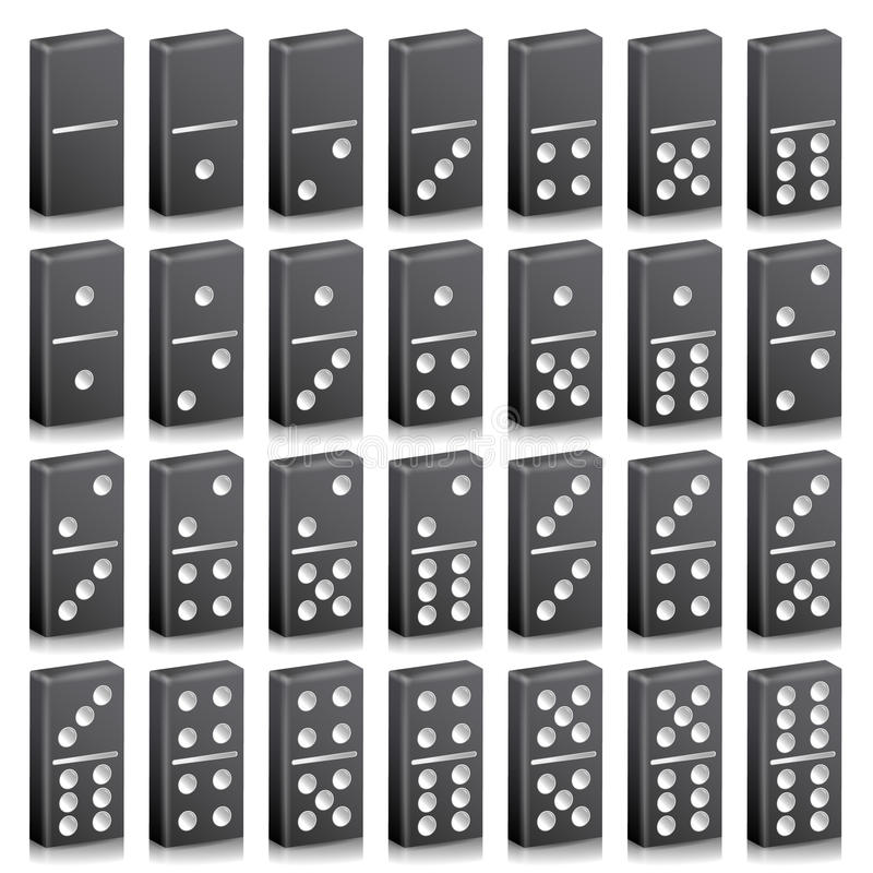 Domino Full Set Vector Realistic 3D Illustration. Black Color. Classic Game Dominoes Bones On White. Top View vector illustration