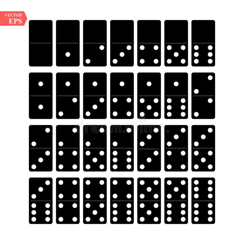 Domino Full Set Vector Realistic Illustration. Black Color. Classic Game Dominoes Bones Isolated On White. Top View. For vector illustration