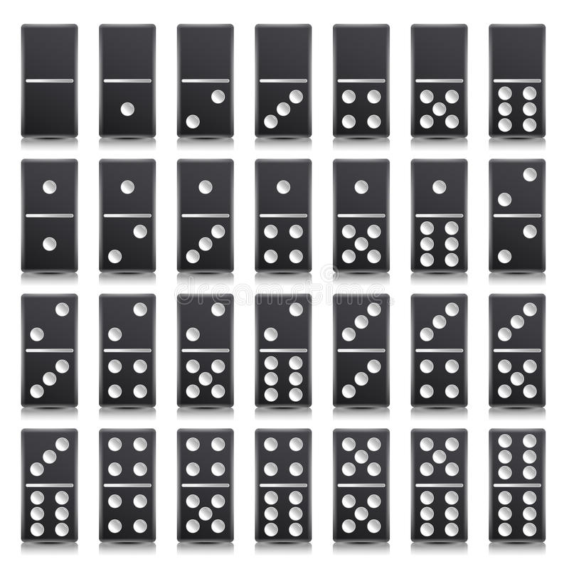 Domino Full Set Vector Realistic Illustration. Black Color. Classic Game Dominoes Bones On White. Top View. For stock illustration