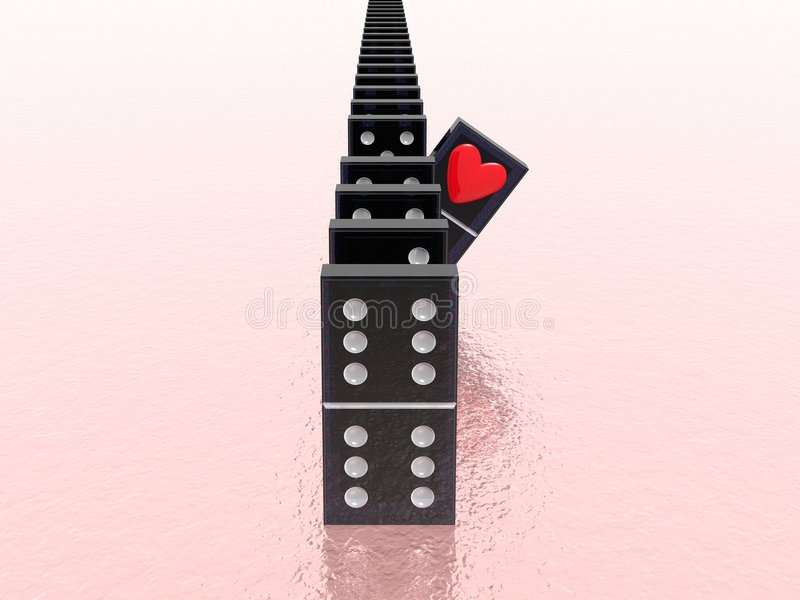 Domino with heart stock illustration