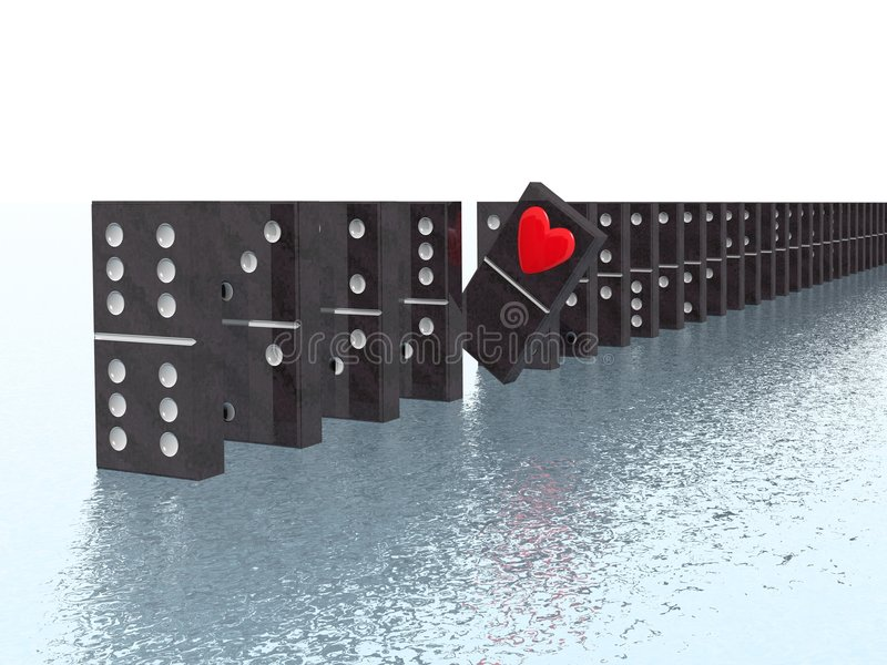 Domino with heart royalty free illustration