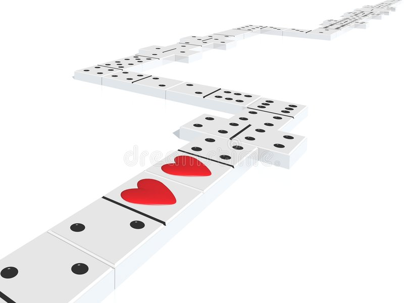Domino with hearts vector illustration
