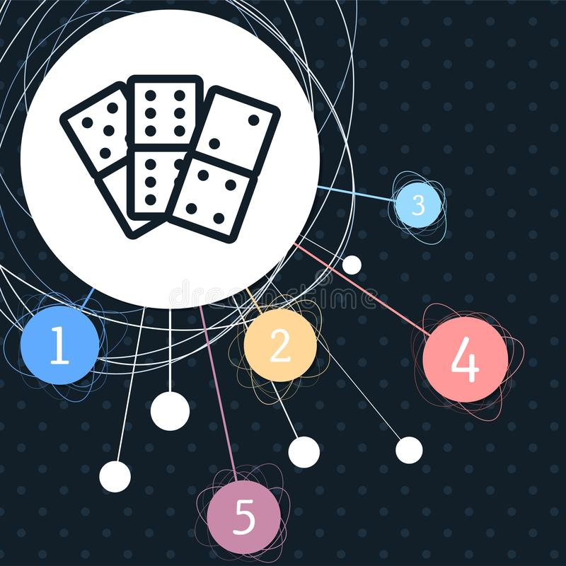 Domino icon with the background to the point and with infographic style. royalty free illustration