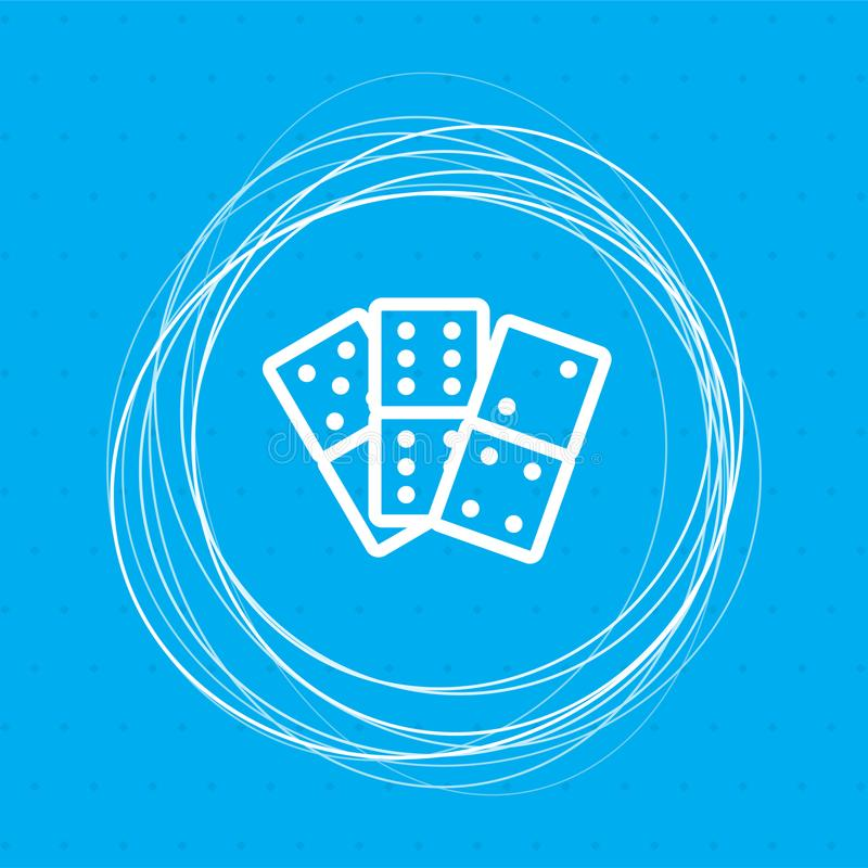 Domino icon on a blue background with abstract circles around and place for your text. stock illustration